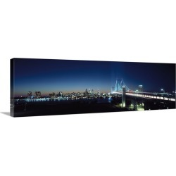 Large Solid-Faced Canvas Print Wall Art Print 48 x 16 entitled Bridge across a river, Benjamin Franklin Bridge, Delaware R... found on Bargain Bro India from Great Big Canvas - Dynamic for $209.99