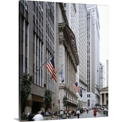 Large Gallery-Wrapped Canvas Wall Art Print 19 x 24 entitled A view of Wall Street in New York City, 1990