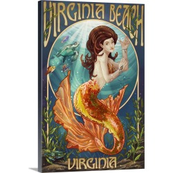 Large Gallery-Wrapped Canvas Wall Art Print 16 x 24 entitled Virginia Beach, Virginia - Mermaid: Retro Travel Poster