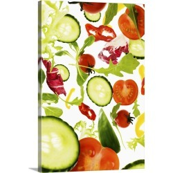 Large Gallery-Wrapped Canvas Wall Art Print 20 x 30 entitled Fresh mixed salad vegetables falling to camera