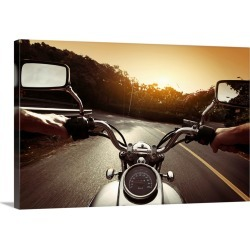 Large Gallery-Wrapped Canvas Wall Art Print 24 x 16 entitled Rider on a Motorcycle on an Asphalt Road