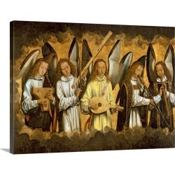 Large Solid-Faced Canvas Print Wall Art Print 40 x 30 entitled Five Angels Playing Musical Instruments