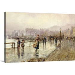 Large Gallery-Wrapped Canvas Wall Art Print 24 x 16 entitled A Wet Day in Whitby