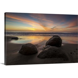 Large Solid-Faced Canvas Print Wall Art Print 30 x 20 entitled Rocks on a beach