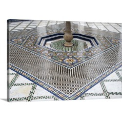 Large Solid-Faced Canvas Print Wall Art Print 30 x 20 entitled A tiled floor in 19th century Bahia Palace, Marrakech