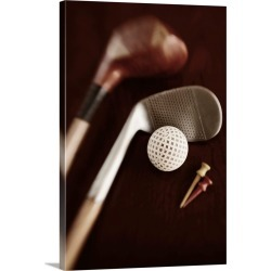Large Solid-Faced Canvas Print Wall Art Print 20 x 30 entitled Still life of vintage golf clubs, tees and ball