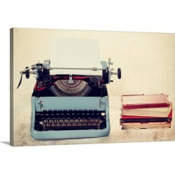 Large Gallery-Wrapped Canvas Wall Art Print 24 x 16 entitled Old Typewriter and Books found on Bargain Bro India from Great Big Canvas - Dynamic for $214.99
