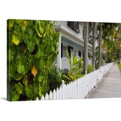 Large Gallery-Wrapped Canvas Wall Art Print 24 x 16 entitled Florida, Florida Keys, Key West, Truman Annex, house detail