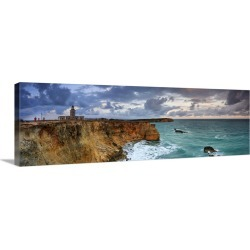 Large Solid-Faced Canvas Print Wall Art Print 48 x 16 entitled Puerto Rico, West Coast, Punta Jaguey, Faro de Cabo Rojo (R...