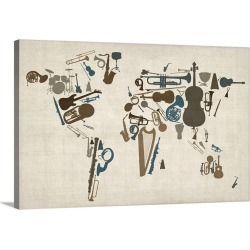 Large Gallery-Wrapped Canvas Wall Art Print 24 x 16 entitled World map made up of Musical Instruments