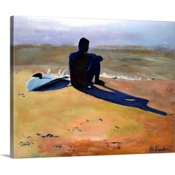 Large Solid-Faced Canvas Print Wall Art Print 30 x 24 entitled Contemplation , The Surfer