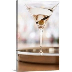 Large Solid-Faced Canvas Print Wall Art Print 20 x 30 entitled Martini on bar