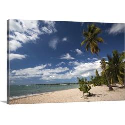 Large Solid-Faced Canvas Print Wall Art Print 30 x 20 entitled Puerto Rico, West Coast, Boqueron, Balneario Boqueron beach