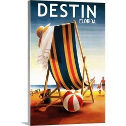 Large Solid-Faced Canvas Print Wall Art Print 20 x 30 entitled Destin, Florida, Beach Chair and Ball