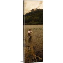 Large Solid-Faced Canvas Print Wall Art Print 16 x 48 entitled Fisherman Kenai River AK