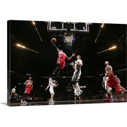 Large Solid-Faced Canvas Print Wall Art Print 30 x 20 entitled Bradley Beal 3 of the Washington Wizards dunks against the ...