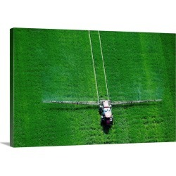 Large Gallery-Wrapped Canvas Wall Art Print 30 x 20 entitled Spray application in green field on the Eastern shore of Mary...