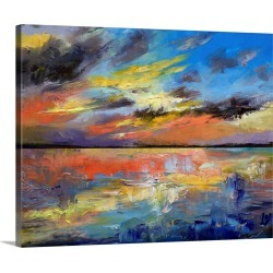Large Gallery-Wrapped Canvas Wall Art Print 20 x 16 entitled Key West Florida Sunset