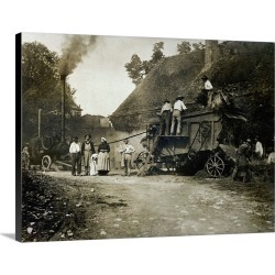 Large Solid-Faced Canvas Print Wall Art Print 24 x 18 entitled Threshing scene, late 19th century
