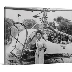 Large Solid-Faced Canvas Print Wall Art Print 30 x 24 entitled Dr. Valerie Andre, in front of her helicopter in Tonkin, Vi...