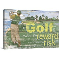 Large Gallery-Wrapped Canvas Wall Art Print 24 x 15 entitled Golf Risk vs Reward II