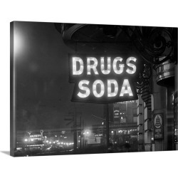 Large Solid-Faced Canvas Print Wall Art Print 40 x 30 entitled Drug Store Sign