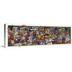 Large Solid-Faced Canvas Print Wall Art Print 48 x 16 entitled Mo' Mutts Sports Bar