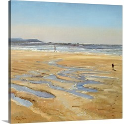 Large Gallery-Wrapped Canvas Wall Art Print 16 x 16 entitled Beach Strollers