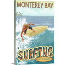 Large Solid-Faced Canvas Print Wall Art Print 20 x 30 entitled Monterey Bay, California, Surfer Scene