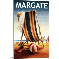 Large Solid-Faced Canvas Print Wall Art Print 20 x 30 entitled Margate, New Jersey, Beach Chair and Ball