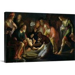 Large Solid-Faced Canvas Print Wall Art Print 30 x 20 entitled Christ Washing the Disciples' Feet, by Peter Wtewael, 1623