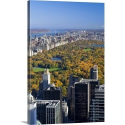 Large Gallery-Wrapped Canvas Wall Art Print 20 x 30 entitled New York City, View of Uptown Manhattan and Central Park