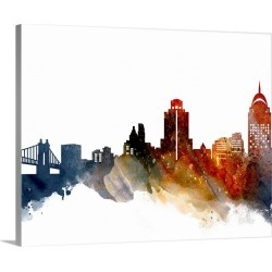 Large Gallery-Wrapped Canvas Wall Art Print 20 x 16 entitled Cincinnati Watercolor Cityscape II