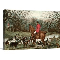 Large Gallery-Wrapped Canvas Wall Art Print 24 x 16 entitled Men On Hunting Trip Using Dogs found on Bargain Bro India from Great Big Canvas - Dynamic for $214.99