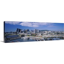 Large Gallery-Wrapped Canvas Wall Art Print 36 x 12 entitled Skyscrapers in a city, Old Port, Montreal, Quebec, Canada