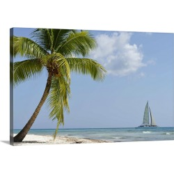 Large Solid-Faced Canvas Print Wall Art Print 30 x 20 entitled Sailboat passing by tropical beach