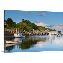 Large Gallery-Wrapped Canvas Wall Art Print 24 x 16 entitled Lobster fishing boats and jetties, New Harbor, Pemaquid Penin...