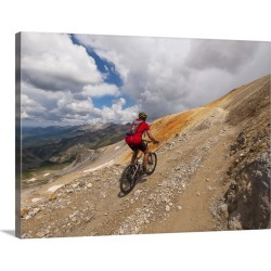 Large Gallery-Wrapped Canvas Wall Art Print 24 x 18 entitled Mature male mountain biking above Telluride found on Bargain Bro India from Great Big Canvas - Dynamic for $234.99
