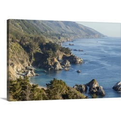 Large Solid-Faced Canvas Print Wall Art Print 30 x 20 entitled A beach in Julia Pfeiffer Burns State Park along the rugged...