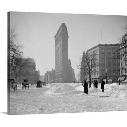 Large Gallery-Wrapped Canvas Wall Art Print 24 x 19 entitled View of the Flatiron Building after a snow storm in New York ...