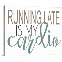 Large Solid-Faced Canvas Print Wall Art Print 30 x 24 entitled Running Late Teal