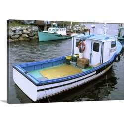 Large Solid-Faced Canvas Print Wall Art Print 30 x 20 entitled Canada, Nova Scotia. Lobster boats