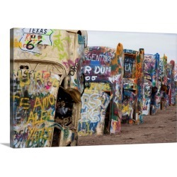 Large Solid-Faced Canvas Print Wall Art Print 30 x 20 entitled Cadillac Ranch along Route 66, Texas found on Bargain Bro India from Great Big Canvas - Dynamic for $169.99
