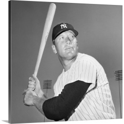 Large Solid-Faced Canvas Print Wall Art Print 20 x 20 entitled Mickey Mantle (1931-1995), American baseball player for the...