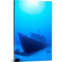 Large Solid-Faced Canvas Print Wall Art Print 20 x 30 entitled Hawaii, Maui, Wreck Of The St. Anthony In Blue Waters, Sand...