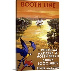 Large Gallery-Wrapped Canvas Wall Art Print 20 x 30 entitled Booth Line - Vintage Travel Advertisement