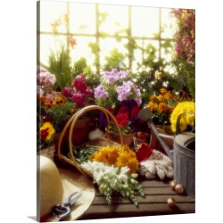 Large Gallery-Wrapped Canvas Wall Art Print 16 x 20 entitled Gardener's workbench with various flowers.