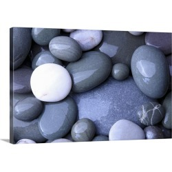 Large Solid-Faced Canvas Print Wall Art Print 30 x 20 entitled Pebbles on beach, Hurlestone Point, Somerset, England