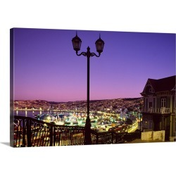Large Solid-Faced Canvas Print Wall Art Print 30 x 20 entitled Chile, Valparaiso, View of the town from Naval Museum