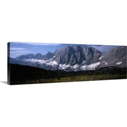 Large Gallery-Wrapped Canvas Wall Art Print 30 x 10 entitled Hiker in a meadow, Floe Lake, Glacier National Park, British ... found on Bargain Bro India from Great Big Canvas - Dynamic for $144.99